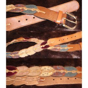 Lucky brand boho patchwork leather belt M brown
